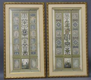 Pair of Large Handcolored Book Plate Engravings