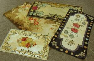 Four Assorted Floral Pattern Hooked Rugs