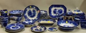 Fiftyseven Assembled Pieces of English Flow Blue Pattern Tableware