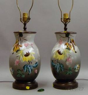 Pair of Handpainted Porcelain Baluster Table Lamps