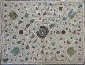 Indian silk and metallic thread quilt early 20th c