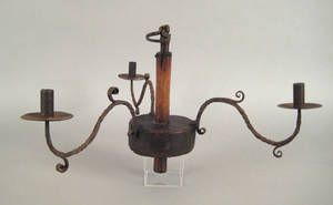 Continental oak and wrought iron three arm chandelier 19th c