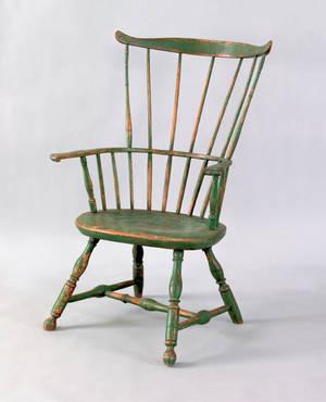 Lancaster County Pennsylvania combback windsor armchair ca 1790