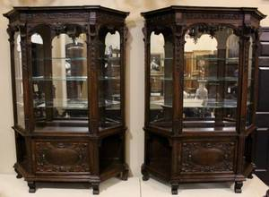 Pair of E 20th C Carved Oak China Cabinets