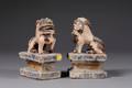 Pair of Painted Terracotta Foo Dogs