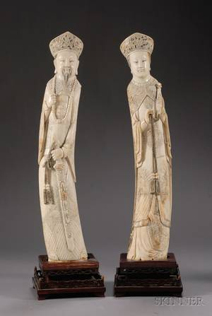 Pair of Large Ivory Carvings