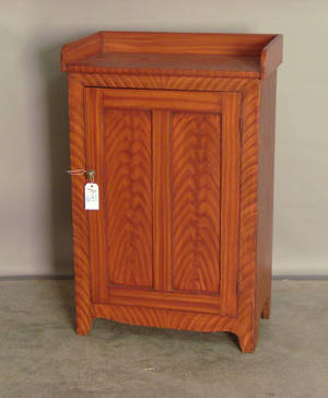 Jelly cupboard with one door and red faux grain  Provenance Collection of Richard and Rosemarie Machmer