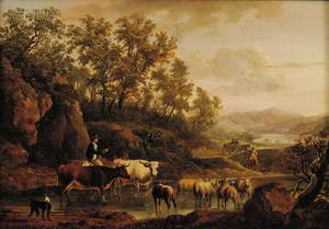 British School 18th Century Style Drover and Livestock by a Stream