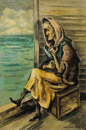 Adolf Arthur Dehn American 18951968 Woman Sitting by the Shore