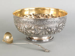 Gorham sterling silver punch bowl and ladle