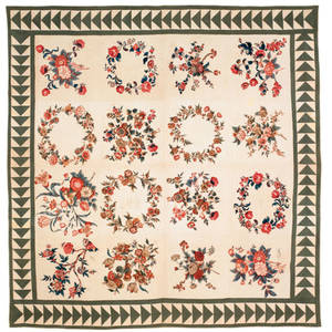 Baltimore broderie perse chintz album quilt mid 19th c