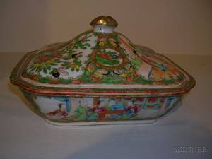 Rose Medallion Porcelain Covered Dish