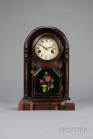 Miniature Italian Rosewood Shelf Clock by Welch Spring  Company