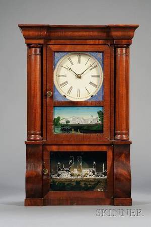 Miniature Mahogany SleighFront Shelf Clock by EO Goodwin