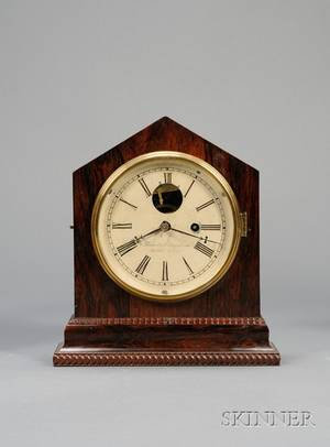 Rosewood and Ripple Front Shelf Clock by Brewster  Ingrahams