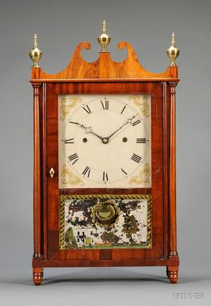 Mahogany Pillar and Scroll Cantilever Spring Shelf Clock by Joseph Ives