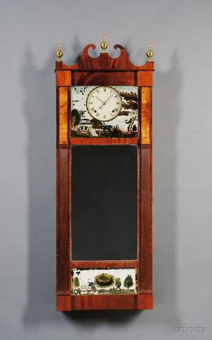 Mahogany Patent Looking Glass Wall Clock by Joseph Ives
