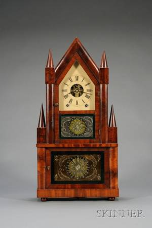 Mahogany Double Steeple Wagon Spring Shelf Clock by Birge  Fuller