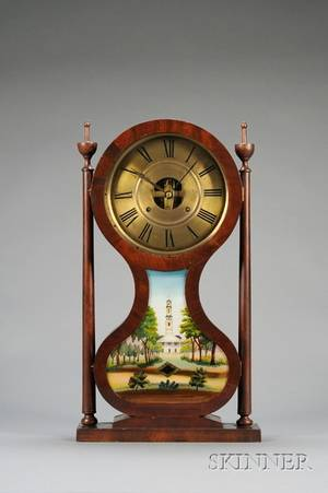 Mahogany Hourglass Shelf Clock by Joseph Ives