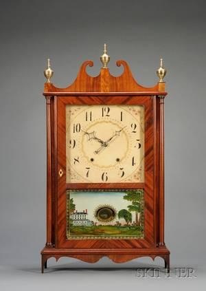 Mahogany Pillar and Scroll Clock By Eli Terry