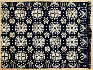 New York or Pennsylvania blue and white coverlet dated 1830