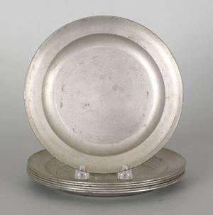 Six Philadelphia pewter Love plates late 18th c