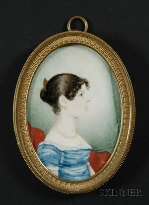 Portrait Miniature of a Woman Wearing a Blue Dress