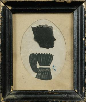 Puffy Sleeve Artist Active 182931 Silhouette Portrait of a Woman Holding a Flower Sprig