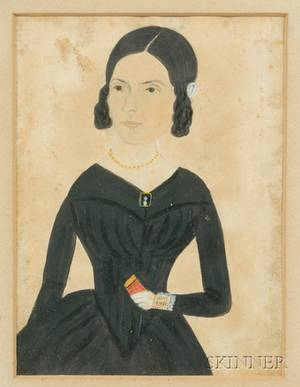 Jane A Davis American 18211855 Portrait of a Young Woman Holding a Red Book
