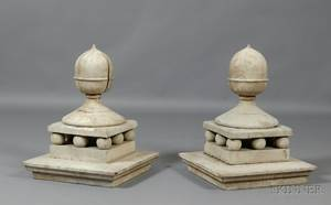 Pair of Whitepainted Pine Architechtural Acorn Finials
