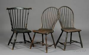 Windsor Fanback Blackpainted Side Chair and Two Windsor Brownpainted Bowback Side
