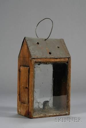 Early Wood Tin and Glass Lantern