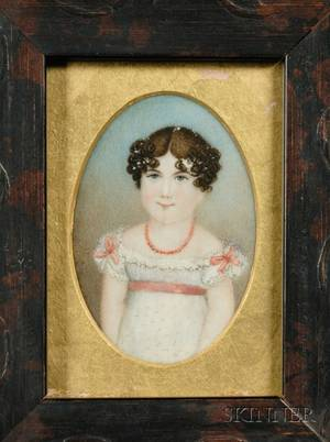 Portrait Miniature of a Girl in White Dress with Pink Bows and Sash