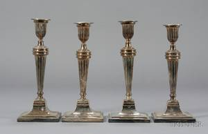 Set of Four Sheffield Plate Neoclassical Candlesticks