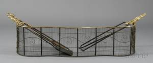 Brass and Wirework Serpentine Fire Fender with Five Brass and Iron Fire Tools