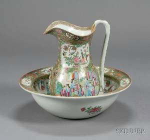 Rose Medallion Porcelain Pitcher and Basin