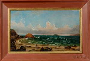 American School 19th Century Seascape with Figures on a Beach and Distant Island