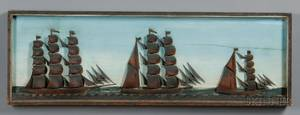 Carved Wood and Painted Diorama of Three Sailing Vessels