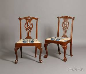 Pair of Chippendale Mahogany Carved Side Chairs