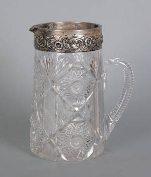 Sterling silver mounted cut glass water pitcher late 19th c