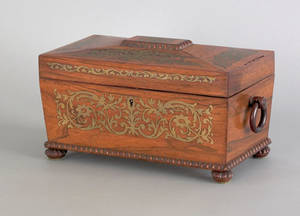 Regency rosewood and brass inlaid tea caddy early 19th c
