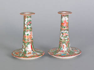 Pair of Chinese export rose medallion candlesticks 19th c