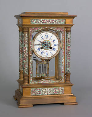 Ornate brass and enamel mantle clock late 19th c