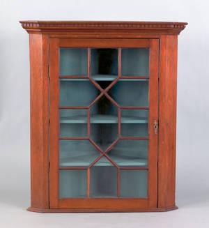 George III mahogany hanging corner cupboard ca 1770