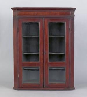George III mahogany hanging corner cupboard ca 1780
