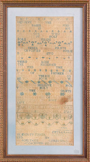 English silk on linen band sampler dated 1725