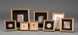 Lot of Eight Miniature Paintings on Ivory