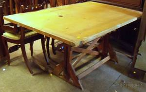 Maple and Oak Adjustable Drafting Table