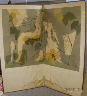 Modern Japanese TwoPanel Painted Silk Floor Screen with Figures