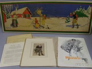 Set of Nine Petrolagar Promotional Vanity Fair Caricature Portrait Prints and a 1912 Sweden Promotional Magazine